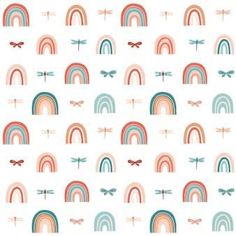 Modello estivo senza cuciture con libellula arcobaleno illustrazione vettoriale per carta da imballaggio in tessuto