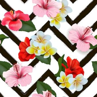 Sfondo tropicale estivo senza soluzione di continuità con fiori tropicali e pappagalli colorati. illustrazione vettoriale.