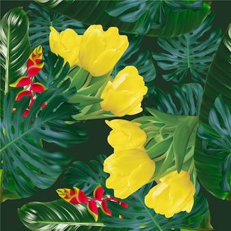 Motivo tropicale estivo senza soluzione di continuità con fiori esotici sfondo vettoriale foglie di palma e fiori
