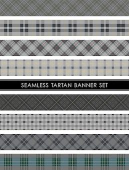 Set di banner scozzese scozzese senza soluzione di continuità ripetibile orizzontalmente e verticalmente.