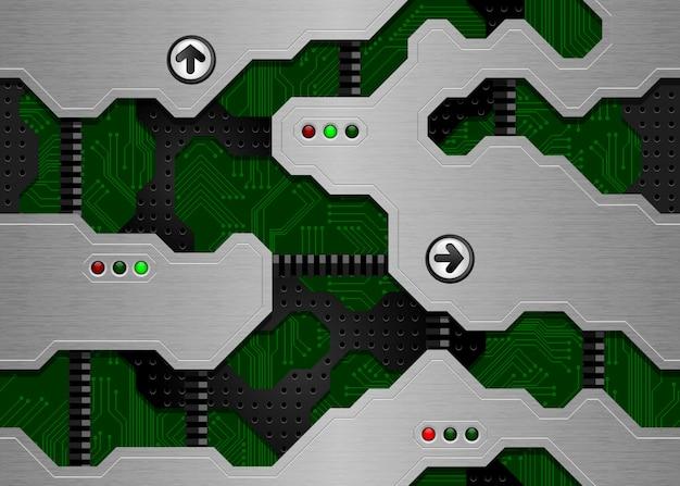Trama techno senza soluzione di continuità. circuito stampato verde e superficie metallica spazzolata