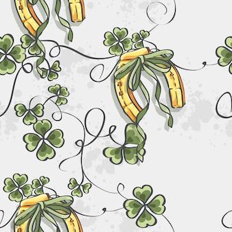 Seamless texture per il giorno di san patrizio con un ferro di cavallo e la bandiera dell'irlanda