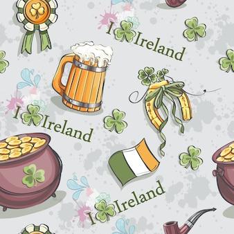 Seamless texture per il giorno di san patrizio con una pentola d'oro e una birra in legno