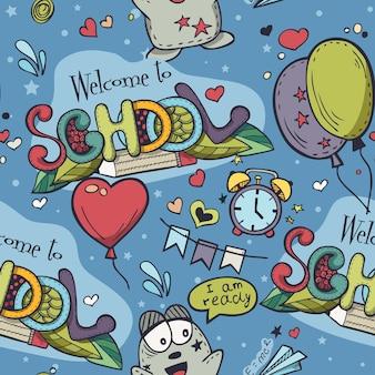 Seamless texture con sfondo blu e scarabocchi scolastici