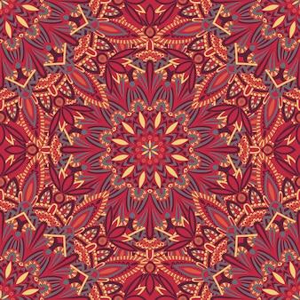 Modello mandala tribale senza soluzione di continuità per la stampa su tessuto o carta.