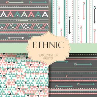 Set azteco trama tribale senza soluzione di continuità. strisce boho. modello etnico.
