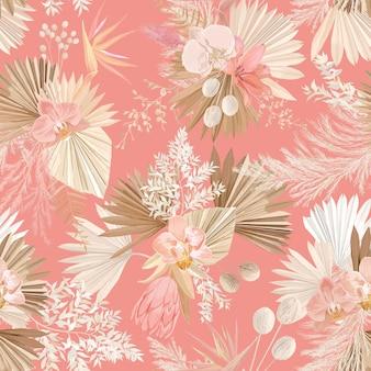 Motivo floreale tropicale senza soluzione di continuità, foglie di palma secche pastello, fiore tropicale boho, orchidea, protea. disegno di illustrazione vettoriale, stile alla moda acquerello per tessuti di moda, trama, tessuto, carta da parati, copertina