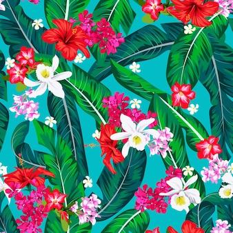 Modello luminoso tropicale senza cuciture con foglie di banana per tessile