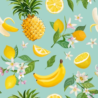 Modello senza cuciture di frutta tropicale con sfondo di limone, banana, ananas, frutta, foglie, fiori. illustrazione vettoriale disegnata a mano in stile acquerello per copertina romantica estiva, carta da parati tropicale, vino
