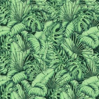 Modello di foglie tropicali senza soluzione di continuità per la moda tessile, illustrazione vettoriale della pianta della linea nera.