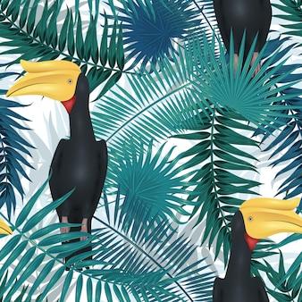 Modello tropicale senza soluzione di continuità, sfondo esotico con rami di palma, foglie, foglie, foglie di palma. trama infinita