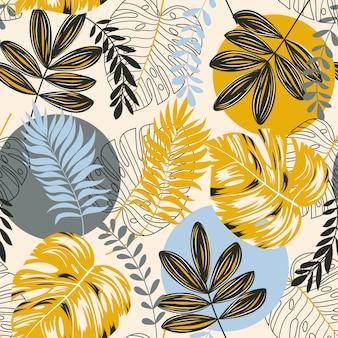 Modello tropicale senza cuciture con astrazione, piante e foglie