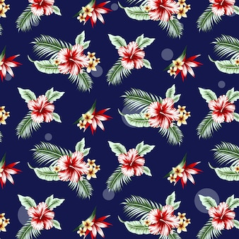 Modello tropicale senza cuciture con hibicus, foglie di palma e fiori. illustrazione vettoriale.