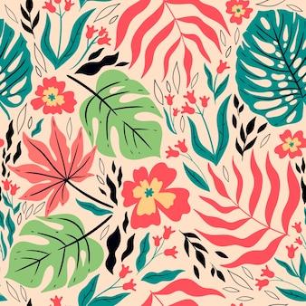 Modello tropicale senza cuciture con foglie e fiori. grafica vettoriale.