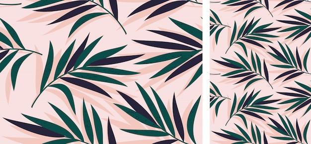 Modello tropicale senza soluzione di continuità con foglie di palma