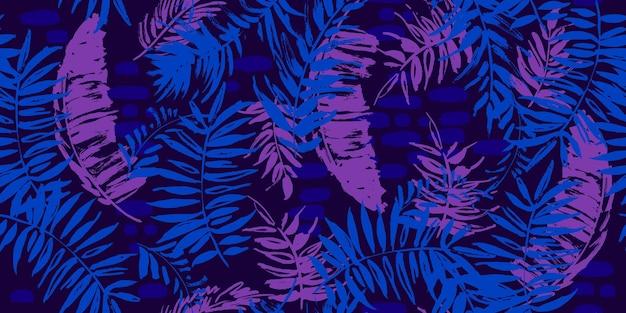 Modello tropicale senza cuciture con foglie di palma