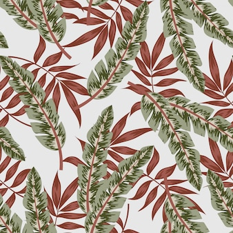 Modello tropicale senza cuciture con piante e foglie