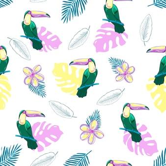 Seamless pattern tropicale con tucani, fiori e foglie di palma. sfondo.