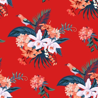 Modello estivo tropicale senza cuciture con fiori di orchidea per tessile