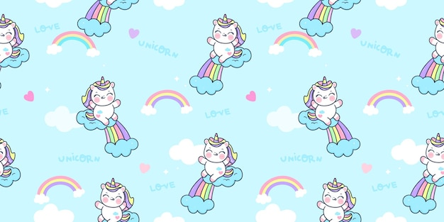 Il fumetto dell'unicorno senza cuciture salta sull'animale kawaii del modello dell'arcobaleno