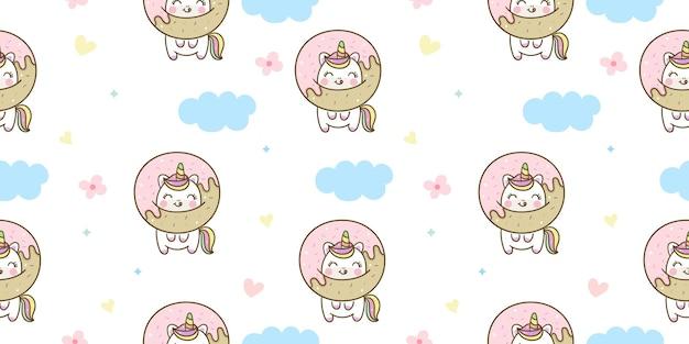 Cartone animato modello unicorno senza soluzione di continuità con ciambella dolce kawaii animal