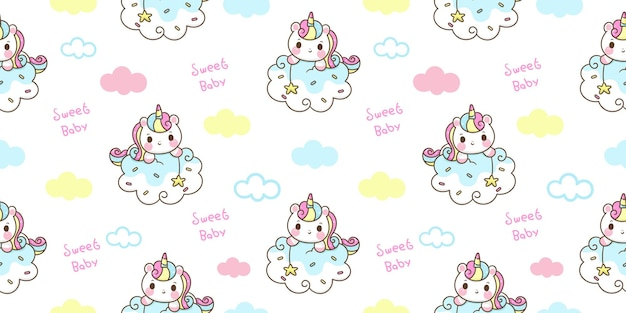 Modello unicorno senza soluzione di continuità su nuvola dolce sogno animale kawaii
