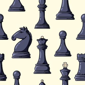 Modello di pezzi di scacchi nero vettore senza soluzione di continuità