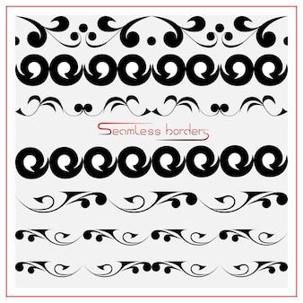 Bordi vettoriali senza soluzione di continuità in un set nero su sfondo bianco