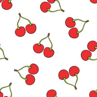 Illustrazione vettoriale senza soluzione di continuità modello con ciliegie rosse gemelle che cadono con un gambo su sfondo bianco
