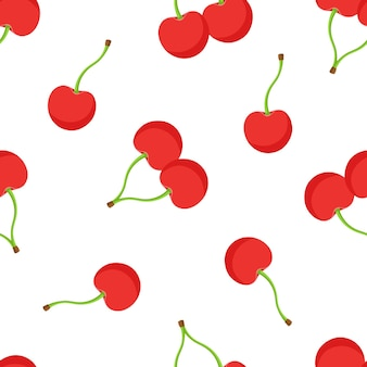 Illustrazione vettoriale senza soluzione di continuità modello con ciliegie rosse con gambo su sfondo bianco