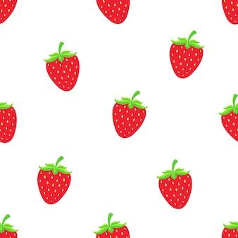 Illustrazione vettoriale senza soluzione di continuità modello con fragola rossa dolce con un gambo su sfondo bianco
