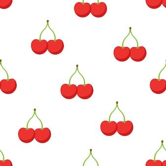 Illustrazione vettoriale senza soluzione di continuità modello con ciliegie rosse gemelle con gambo su sfondo bianco