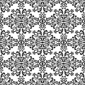 Modello di ornamento classico ornato di vettore senza soluzione di continuità ornamento trama decorativa in bianco e nero