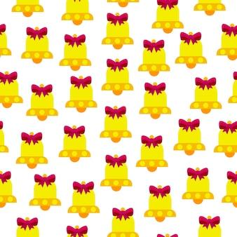 Modello vettoriale senza soluzione di continuità di campane su sfondo bianco le campane sono gialle con un fiocco rosa
