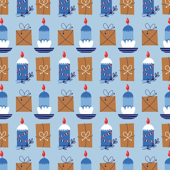 Modello senza cuciture di candele e regali di natale. regalo di natale sfondo blu