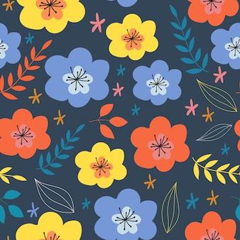 Motivo vettoriale senza soluzione di continuità motivo floreale alla modamotivo floreale con fiori semplici
