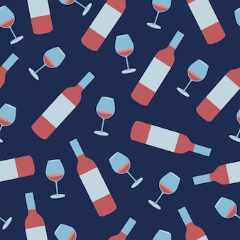 Modello vettoriale senza soluzione di continuità - bicchiere di vino e bottiglia