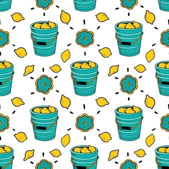 Modello di vettore senza soluzione di continuità con secchio di limoni su sfondo isolato doodle illustrazione