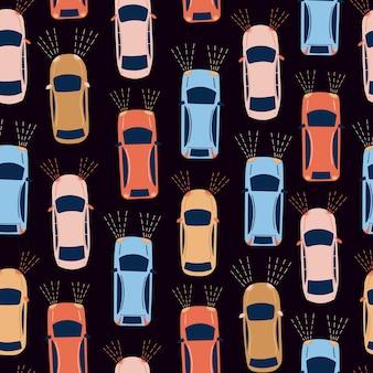 Modello di vettore senza soluzione di continuità con le auto auto colorata dei cartoni animati su sfondo nero