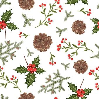 Modello vettoriale senza soluzione di continuità con decorazioni botaniche natalizie
