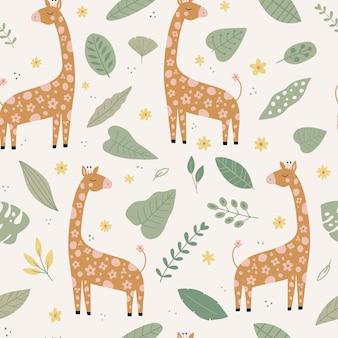 Modello vettoriale senza cuciture con foglie di fiori di giraffa personaggio dei cartoni animati di animali africani