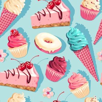 Modello vettoriale senza soluzione di continuità con dolci pastello ad alto dettaglio su sfondo blu