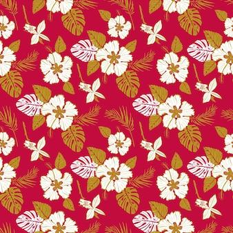Motivo vettoriale senza soluzione di continuità con grandi fiori bianchi e foglie tropicali su sfondo rosso