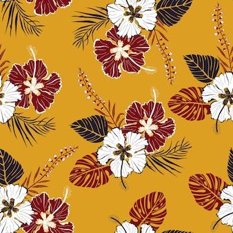 Motivo vettoriale senza soluzione di continuità con grandi fiori bianchi e rossi con foglie tropicali in stile hawaiano