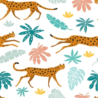 Modello vettoriale senza soluzione di continuità con leopardi e foglie tropicali gatti selvatici nella giungla