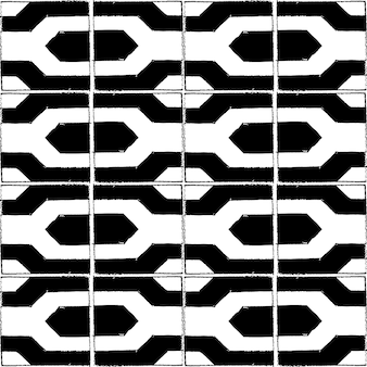 Modello di vettore senza soluzione di continuità con stile matita in piastrelle quadrate bianche e nere.