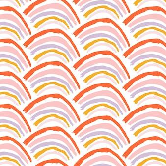 Modello vettoriale senza soluzione di continuità con arcobaleni per carta da parati in tessuto tessile