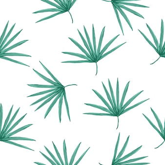 Modello tropicale di vettore senza soluzione di continuità con foglie di palma su sfondo bianco