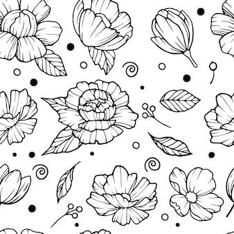 Reticolo dell'annata di vettore senza soluzione di continuità con il mazzo di fiori su sfondo bianco. peonie, rose, piselli dolci, campana. monocromo.
