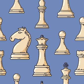 Modello bianco dei pezzi degli scacchi di vettore senza cuciture